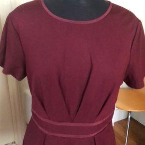 Trina Turk Dresses - Trina Turk pleated tailored burgundy dress 12